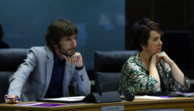 El portavoz parlamentario de Podemos Mikel Buil durante el pleno de investidura de María Chivite.