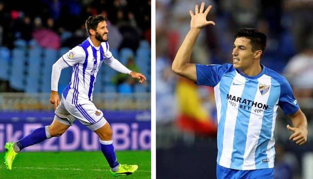 Raúl Navas, en un partido con la Real Sociedad (izda.) y Raúl Navas con la camiseta del Málaga (dcha.).