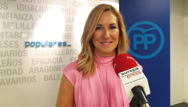 Ana Beltrán, en la sede del PP.