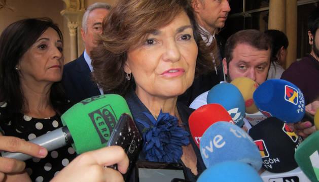 Carmen Calvo, en Zaragoza.