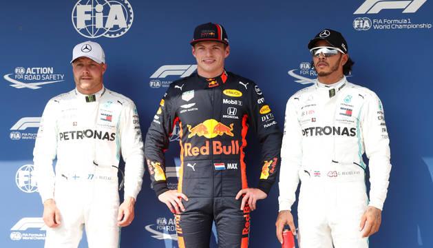 Foto de los tres primeros clasificados en el GP de Hungría.