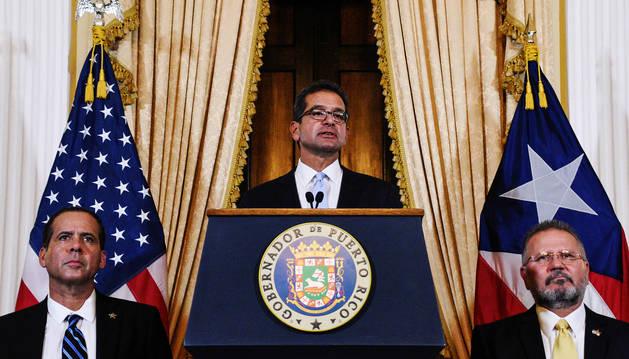 El gobernador Pedro Pierluisi pronuncia su discurso tras jurar como gobernador de Puerto Rico.