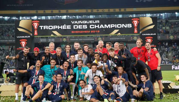 El PSG, tras ganar la Supercopa de Francia.