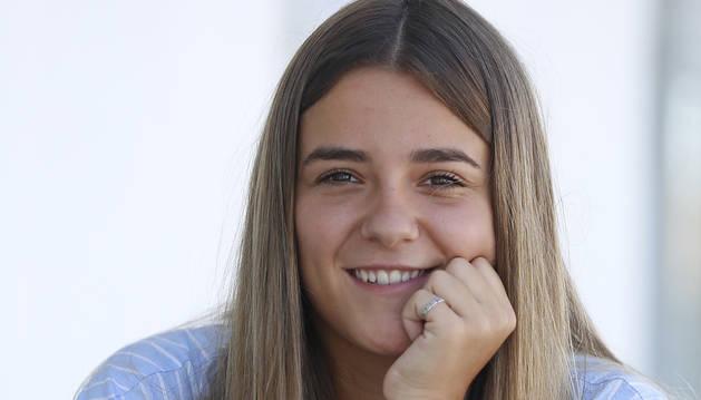 María Blanco, este lunes por la tarde, en las instalaciones de Tajonar, antes de entrenar.