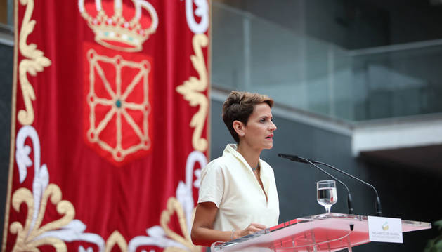 Chivite, durante su primer discurso como presidenta de Navarra.