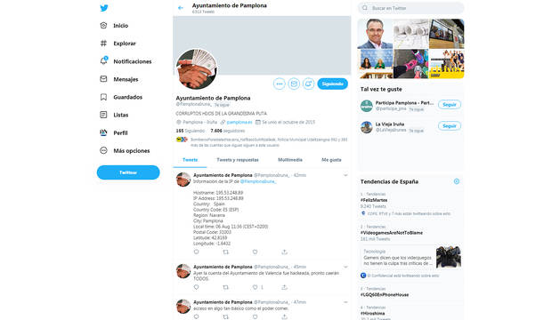 Captura de la cuenta falsa de Twitter donde se amenazaba a Enrique Maya.