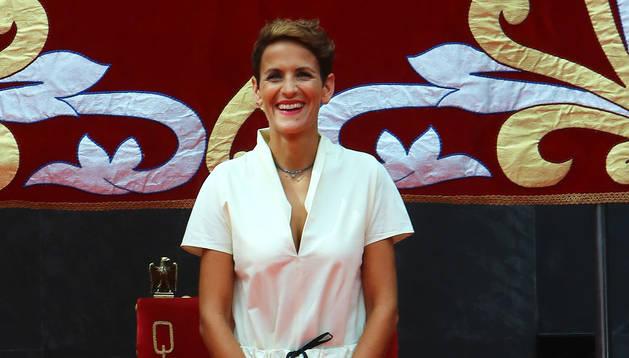 María Chivite, durante el acto de investidura como presidenta del Gobierno de Navarra