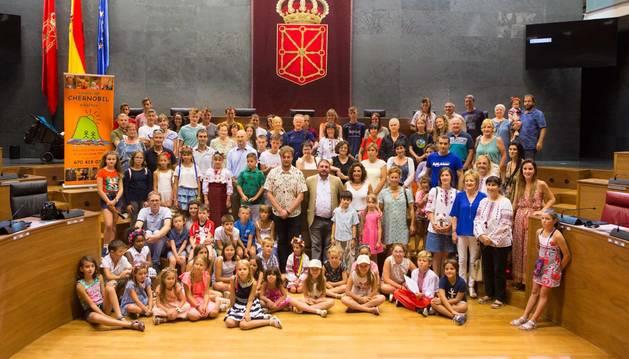 Foto de la recepción oficial a la 'Asociación Chernóbil'.