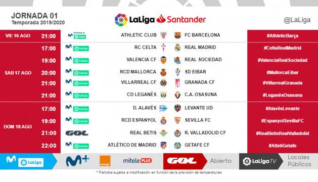 Horarios definitivos de la primera jornada de Liga.