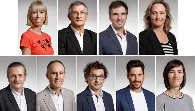 De izquierda a derecha y de arriba abajo: Alicia Erdociáin, Félix Taberna, Miguel Moreno, Amaia Arrizabalaga, Guillermo Nagore, Mikel Muez, Txema Mauleón, Mikel Armendáriz y Saioa Eseberri.