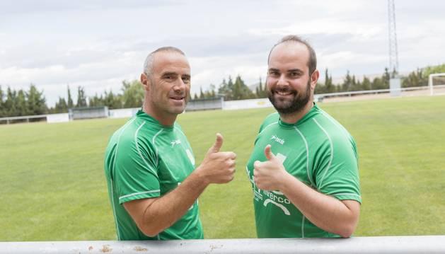 Saúl Huguet (izquierda) y José Ángel Catalán (derecha), el tándem del Fontellas en Tercera.