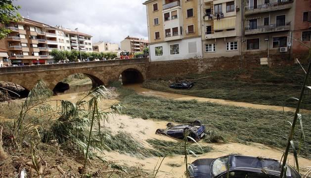 Antes y después en las inundaciones de Tafalla (VI)