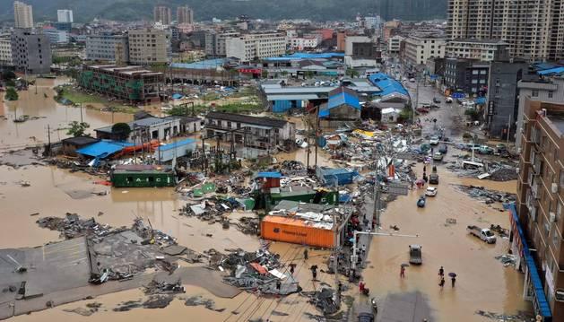 Imágenes  del paso del tifón 'Lekima' por la provincia china de Zhejiang (este).