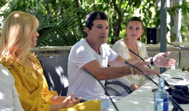 Foto de Antonio Banderas durante la rueda de prensa previa a la cena de Gala de Starlite en Marbella.