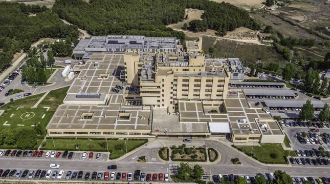Vista aérea del edificio del Hospital Reina Sofía de Tudela.