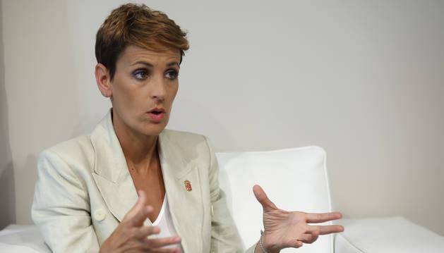 María Chivite en un momento de la entrevista.