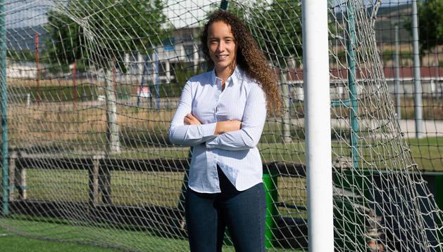María Sampalo, el pasado lunes por la tarde en el campo de hierba artificial de Tajonar.