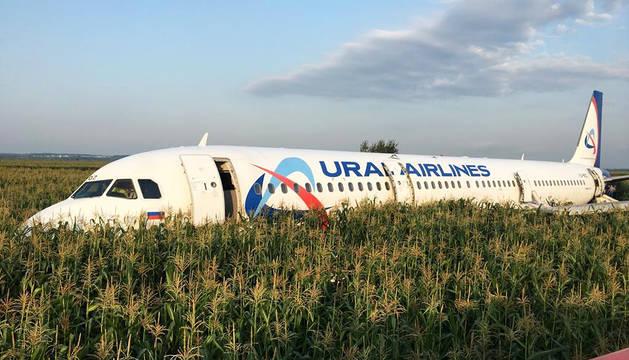 Estado en el que quedó el Airbus tras aterrizar en el maizal en las afueras de Moscú.