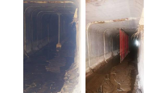Los bajos de la AP-15.  La  imagen de la izquierda muestra los bajos de la AP-15 sobre el río Sansoáin, cerca de El Maño, en Pueyo, tras las inundaciones. La foto de la derecha  recoge el mismo punto unos 15 días después, según UAGN.