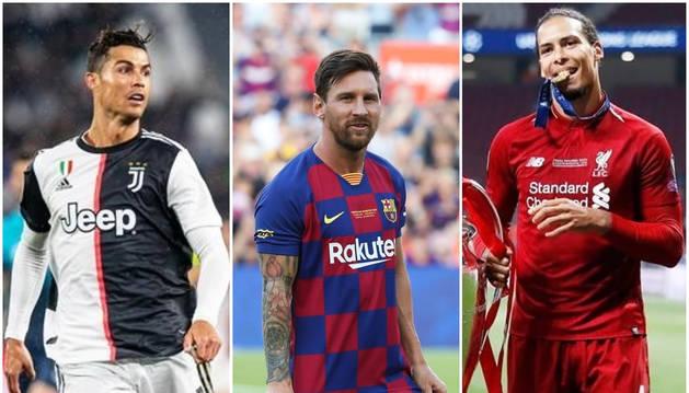 Cristiano Ronaldo, Lionel Messi y Virgil van Dijk, candidatos a mejor jugador de la UEFA.