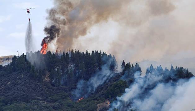 Se declara un incendio forestal en Valleseco, en la isla de Gran Canaria.