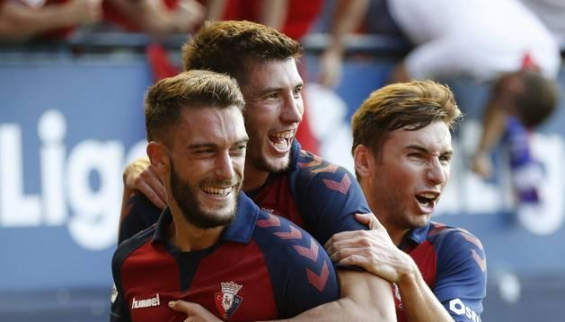 Celebración del segundo gol de Osasuna.