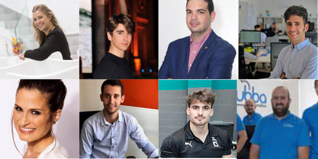 Foto de Maite Agüeros, Mario Cornago, Ramón Lázaro, Adrián Miranda, Estefanía Unzu, Javier Zubiri, Ibon López y Pablo Pérez.