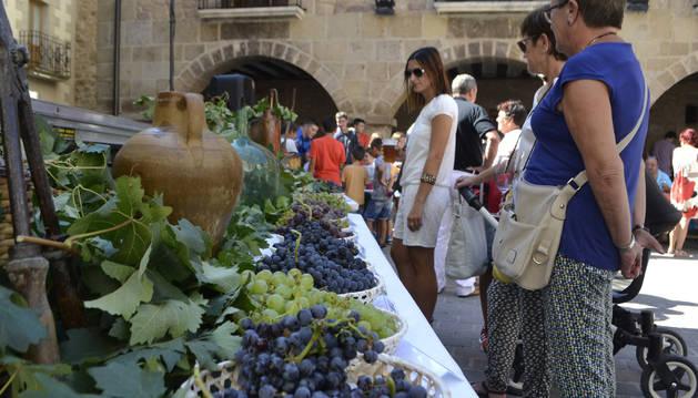 Foto de la muestra de los diferentes tipos de uva que se recogen en Cirauqui y que se exponen en el Día del Vino.
