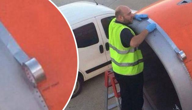 Foto viral de un operario reparando un avión.