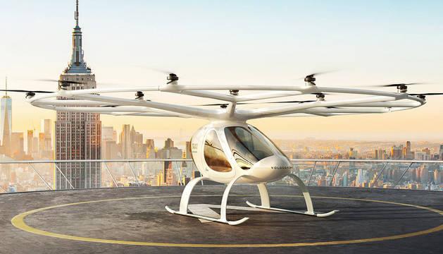 Imagen del prototipo de los taxis voladores que desarrolla la empresa Volocopter.