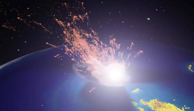 Recreación de un meteorito impactando en la Tierra en la etapa final de los dinosaurios hace 65 millones de años.