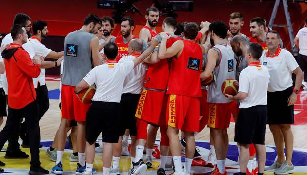 Entrenamiento de la selección española de baloncesto en Pekín