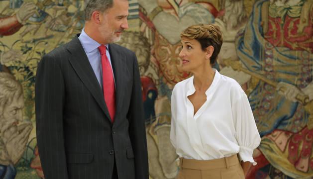 María Chivite y el Rey Felipe VI, durante la audiencia del martes.