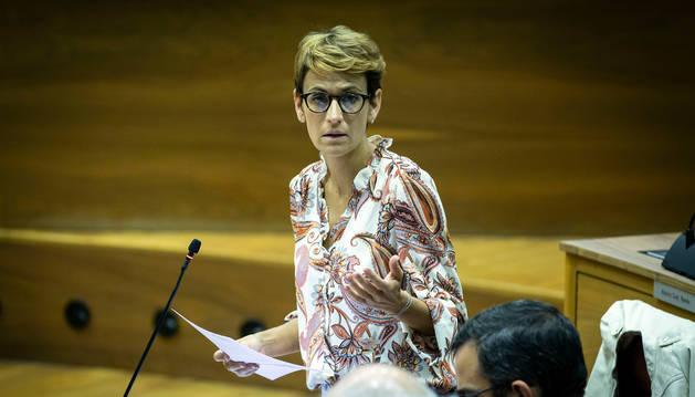 Foto del primer pleno de control al Gobierno de María Chivite.