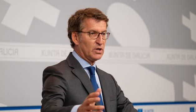Foto del presidente de la Xunta, Alberto Núñez Feijóo, en una rueda de prensa este jueves.