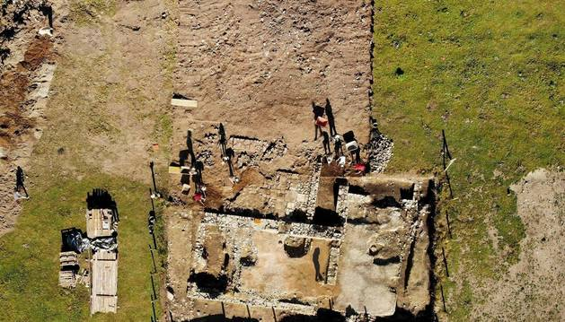 Foto aérea del asentamiento romano descubierto en Zaldua (Burguete).
