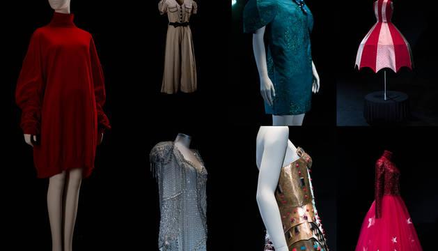 Imagen de los vestidos que muestran la evolución de la moda femenina del siglo XX.