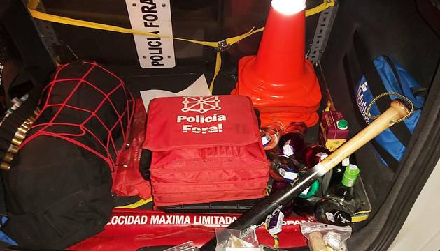 Armas incautadas por la Policía Foral en la pelea que se produjo en las fiestas de Ansoáin.