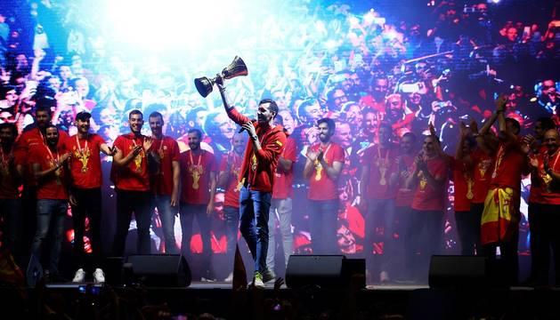 Celebración en Madrid del título de campeones del mundo de la selección española de baloncesto
