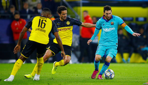 foto de Messi volvió a jugar tras su lesión ante el Borussia Dortmund