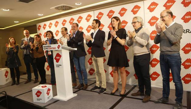Dirigentes y candidatos de Navarra Suma (UPN, Cs y PP) celebran su éxito en las últimas elecciones generales del pasado 28 de abril.