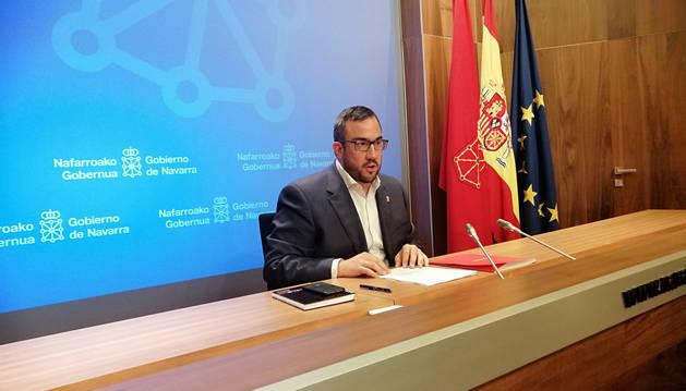 Foto del portavoz del Gobierno de Navarra, Javier Remírez, este miércoles.