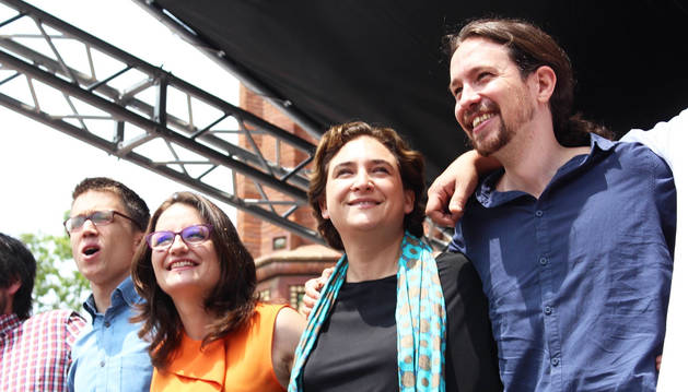 De izda. a dcha., Iñigo Errejón, Mònica Oltra, Ada Colau y Pablo Iglesias en una imagen anterior.