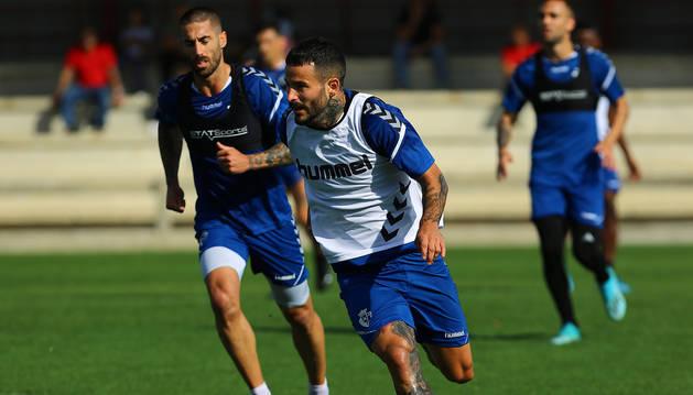 Rubén García, en Tajonar durante el entrenamiento de este lunes.