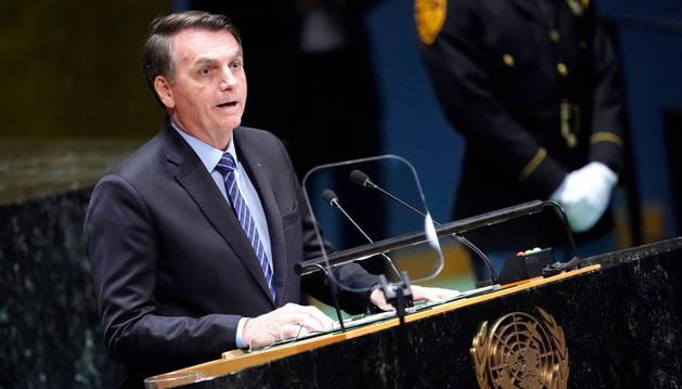 foto de El presidente de Brasil, Jair Bolsonaro, en su intervención ante la asamblea de la ONU