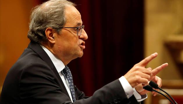 El presidente de la Generalitat, Quim Torra, durante su discurso en el debate de Política General en el pleno del Parlament.