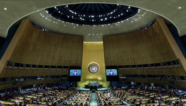Un momento del debate en la ONU con el discurso de la vicepresidenta venezolana Delcy Rodriguez.