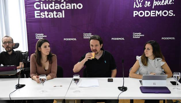 Echenique, Irene Montero, Iglesias y Ione Belarra, al inicio del Consejo Ciudadano Estatal de Podemos.