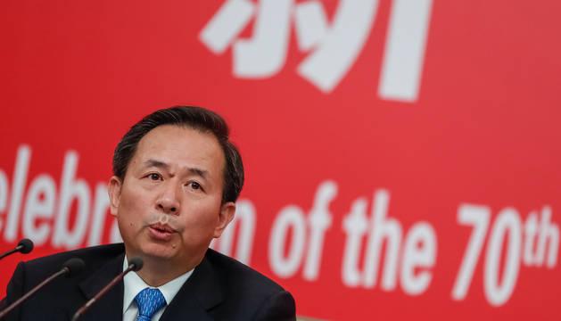 El ministro de Medio Ambiente chino, Li Ganjie, en una conferencia de prensa sobre el 70 cumpleaños de China.