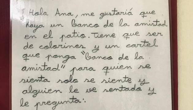 Imagen de la carta con la propuesta que envió la niña al colegio de Burgos.
